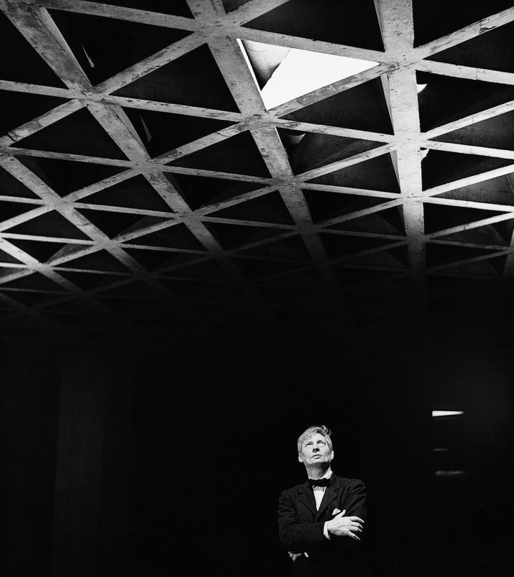 Louis Kahn Looking at His Tetrahedral Ceiling in the Yale University Art Gallery, 1953