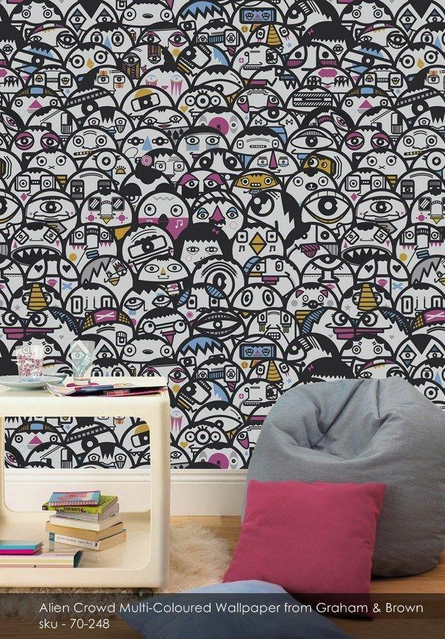 Alien Crowd Multi-Coloured wallpaper from Graham