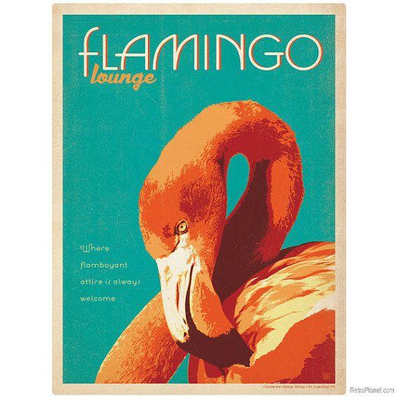 Flamingo Lounge Tropical Bird Wall Decal 42289 by RetroPlanetUSA
