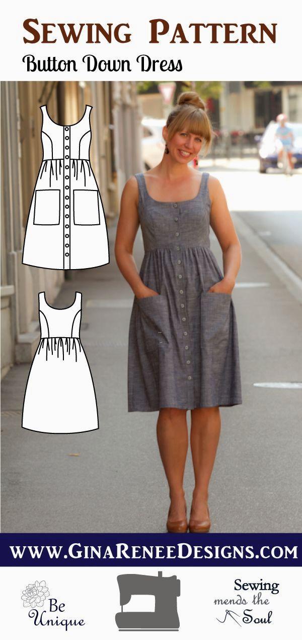 Button Down Dress Pattern; Midi Dress Pattern