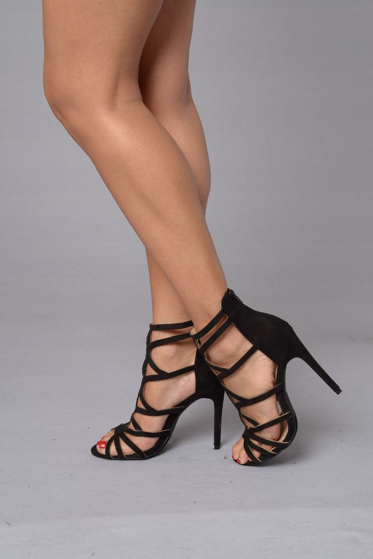 "- Available in Black - Strappy Suede Sandal - Zipper Back Closure - 4"" Heel - Suede"