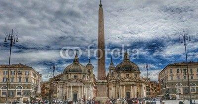 Roma - Piazza del Popolo - Le chiese gemelle e l'obelisco Flaminio