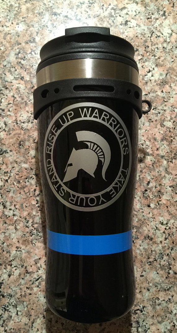 Thin Blue line Coffee Travel Mug  -Our 16 oz. Black travel mug is 100% leak-proof and spill-proof for carefree travel and easy enjoyment of your