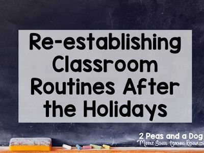 Helping students get back into the school routine after a holiday break can be challenging. Check out these great ideas for goal setting and re-establishing your classroom routine from the 2 Peas and a Dog blog.