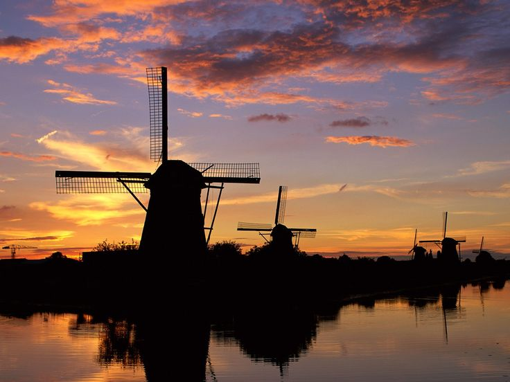 Windmills Reflected, Kinderdijk, Netherlands - 18th century windmills in Holland!