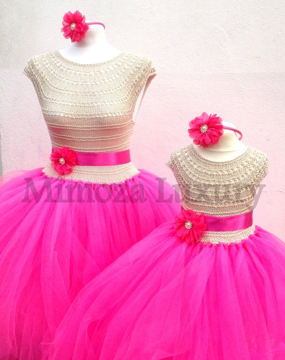 Mother Daughter Matching Dresses Adult by MimozaLuxuryHandKnit