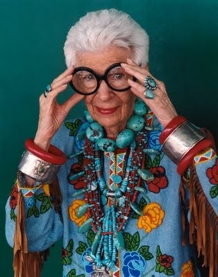 Fashion iconoclast Iris Apfel, a distinguished collector and authority on antique textiles as reflected in her elaborate, often ethnic style outfits. ajd1