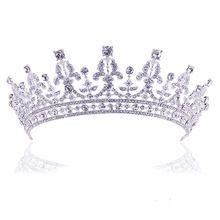Acessório Do Cabelo Do Casamento de Luxo do vintage de Cristal Rainha do Baile de finalistas Da Tiara Da Princesa Coroa De Noiva Pageant Cabelo Jóias de Strass Véu alishoppbrasil