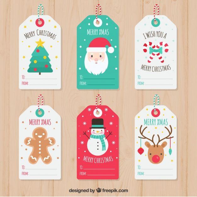 Set de bonitas etiquetas de navidad  Vector Gratis