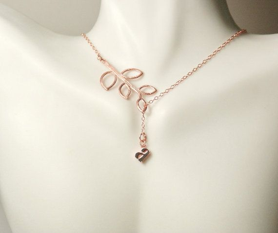 Bridesmaid gift,Wedding Presents. Engagement Jewelry.  This elegant necklace set is made out a rose gold filled chain and is decorated with a pink lowercase letter and tree branch It is connected together with a rose gold filled spring clasp. Its a beautiful piece for perfect for wedding day gifts.also best for mother daughter gift, gift for sisters, birthday present for her, for friends and niece gift.    * High quality Rose gold filled chain and clasp and all findings  * Adorable branch…