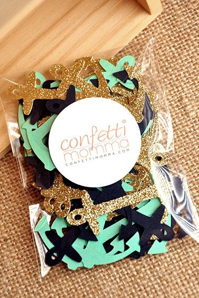 Love this nautical anchor confetti!  And she offers a ton of color combos!  You just can't go wrong with glitter!