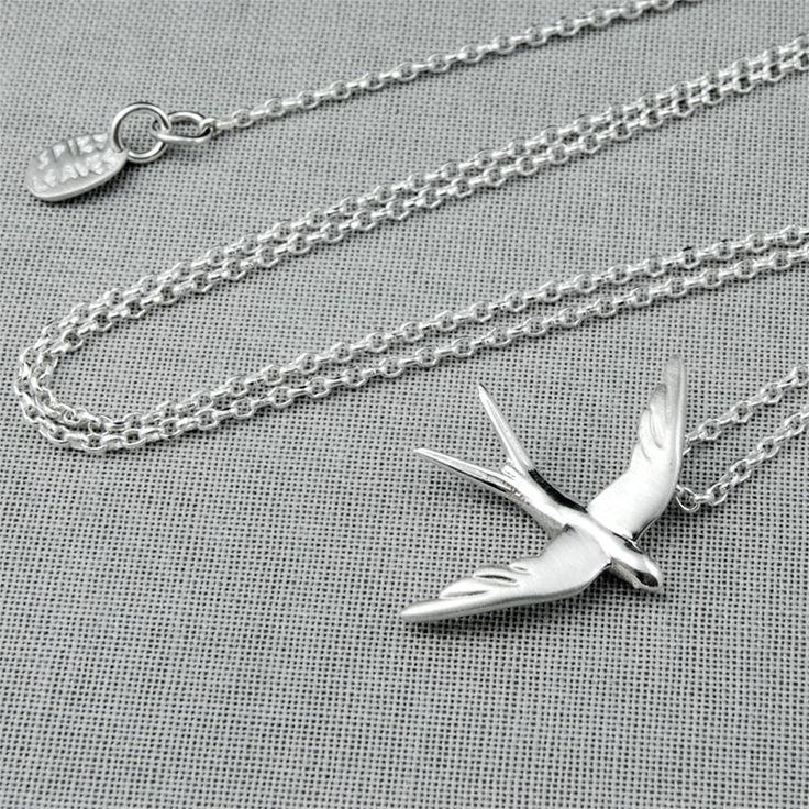 Swallow - Silver Neckalce #swallow #necklace #silver #spring #gift