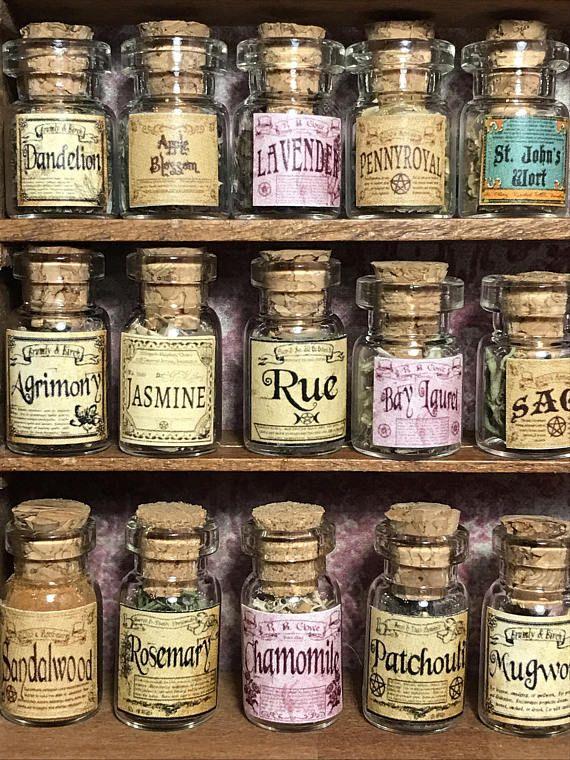 Dollhouse Miniature Set of 4 Filled Glass Spice Jars