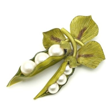Victoria & Albert - Peapod Brooch with Pearls by Cilea