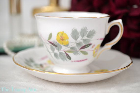 Royal Vale Teacup and Saucer Set with Yellow by TheTeacupAttic