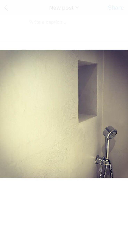 Micro-cement shower niche