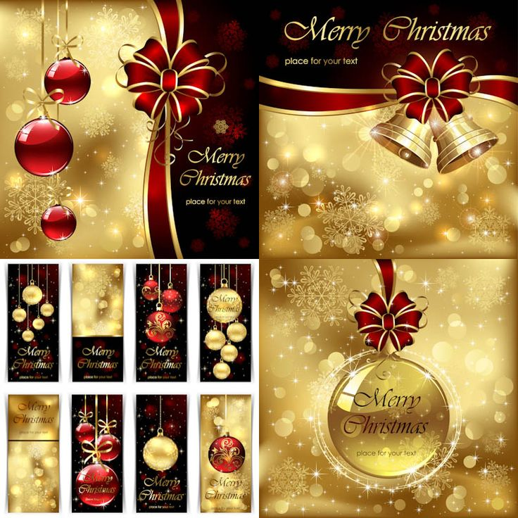 4 Sets of 11 vector golden decorative Christmas greeting cards with gilded backgrounds, Christmas tree balls, ribbons and bows for your brochure designs, postcards, decorative banners and classic invitations. Format: EPS, ai stock vector clip art and illustrations. Free for…