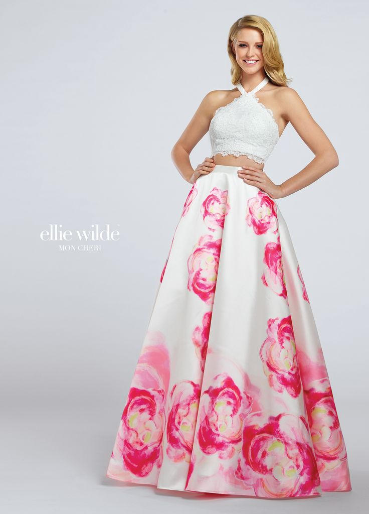 Ellie Wilde EW117028 - Two-piece lace and printed Mikado dress set, scalloped lace cropped halter top with inverted straps, high waist floral printed full A-line skirt. Sister dress to style EW117029.