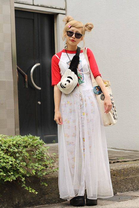panda-themed. #tokyo #harajuku #streetstyle Love the hair, top and accessories.