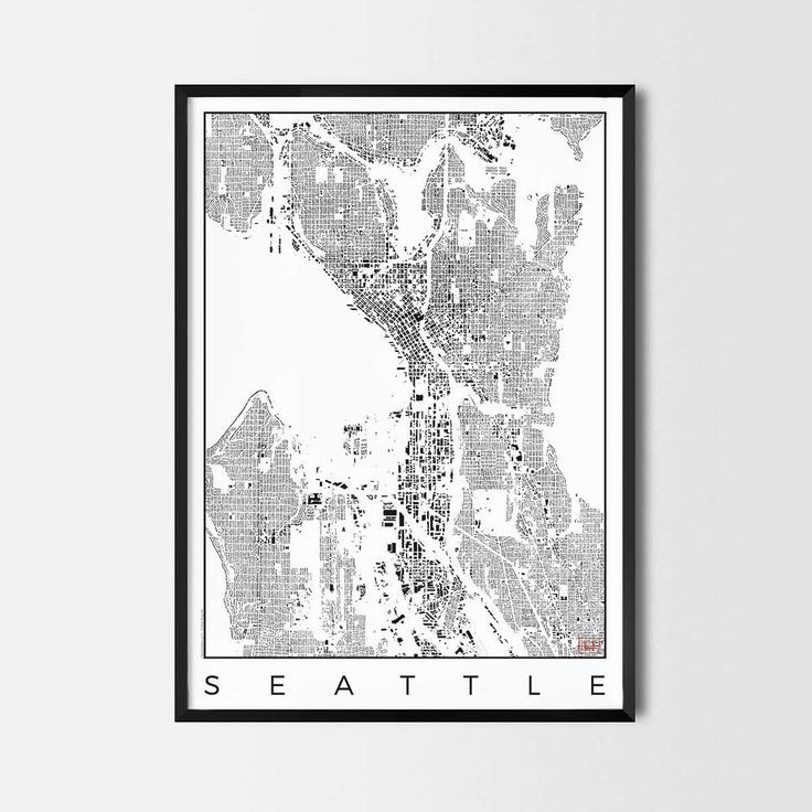Seattle schwarzplan map art city posters. Unique interior decor idea for offices art posters or kitchen art prints.  Minimalist city art gifts for travelers as framed art or canvas wall art. Urban plan map style. print, poster, gift | CityArtPosters.com