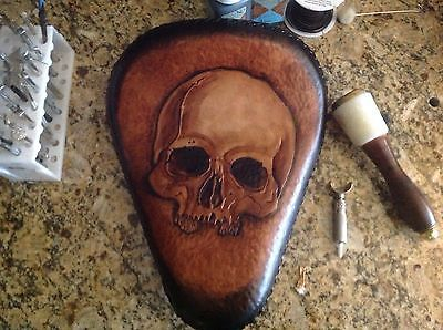 Bobber Chopper Rigid Solo Custom Leather Motorcycle Seat Harley Hand Tooled Dye