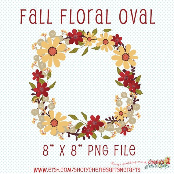 Fall Floral Digital Round Fall Clip Art by CheriesArtsnCrafts