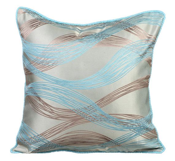 Waves Meet Shore - 16 x 16 Blue Silk Jacquard Patterned Throw Pillow!