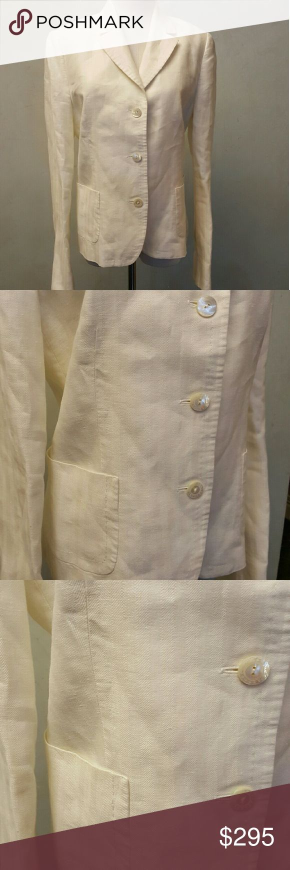 Faconnable cream linen blazer Faconnable cream linen blazer in great condition.  2 pockets. Faconnable Jackets & Coats Blazers