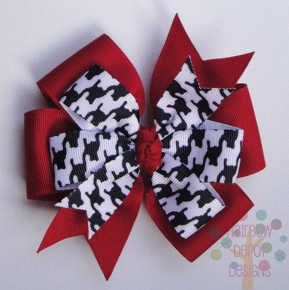 Alabama Crimson Tide Houndstooth and Red Pinwheel Stacked Hairbow Hair Bow