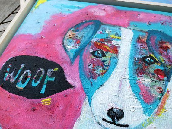 Dog, Original Acrylic Painting on Canvas, 35x45cm (13.78 x 17.72 inches),  Colorful Animal Art, Wall Art, Wall Decor, Nursery Decor