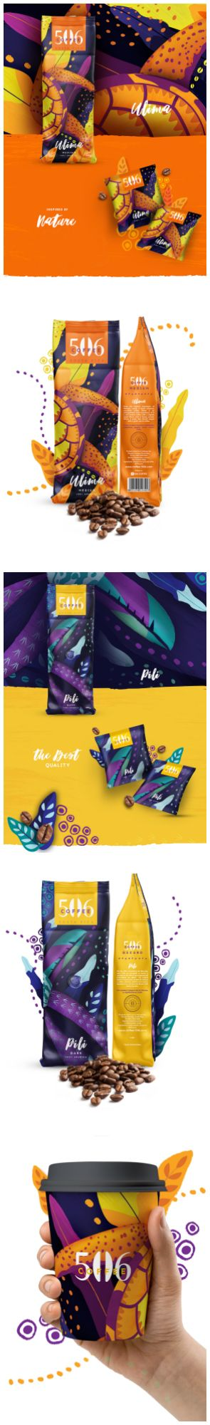 Branded Packaging Design for Vibrant Costa Rica Coffee Brand Design Agency: Daniela Jiménez Brand / Project Name: 506 coffee Location: Costa Rica Category: #coffee #drinks #beverages  World Brand & Packaging Design Society