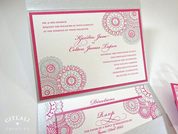 Hot Pink Silver Mandala Henna Floral Paisley Indian Wedding Invitations In A Pocket Folder