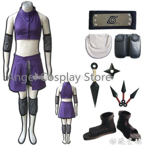 Free DHL Shipping Naruto Yamanaka Ino Figure Uniform Cosplay Anime Naruto Costume V2 Ninja Outfit Bags Belt Shoes Whole Set #Affiliate