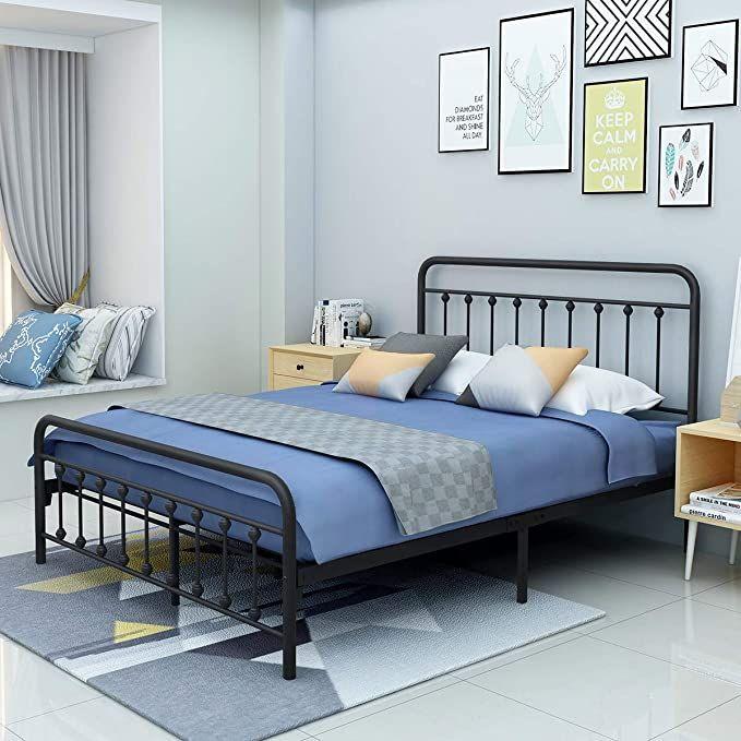 Yollen Metal Bed Frame Queen Size, Queen Metal Bed Frame With Headboard No Footboard