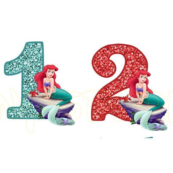 Little Mermaid Ariel Birthday Number For Dark Or Light