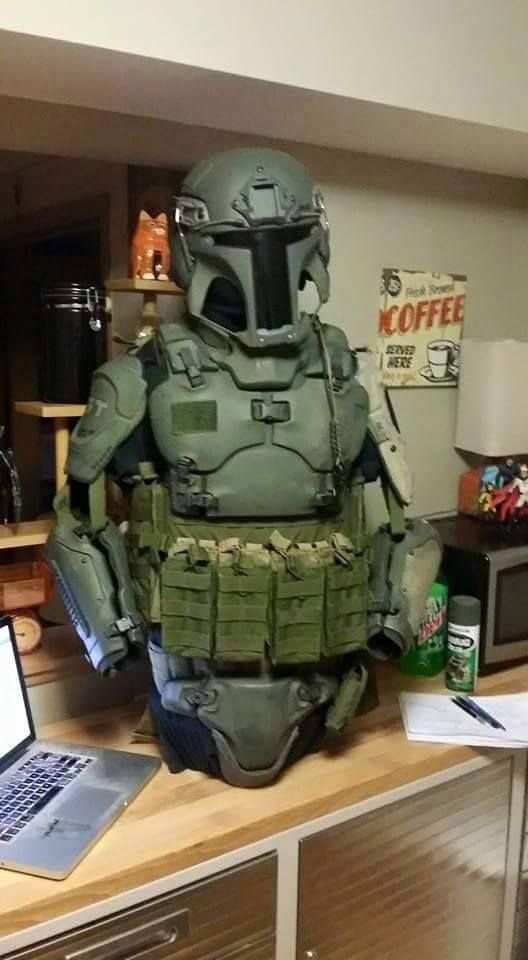 Tactical vest & Helmet with Jango Fett Armor from Star Wars.