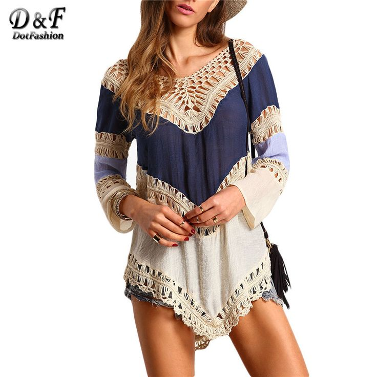 Nice Woman Summer Tops Female Casual New Arrival Korean 2016 Shirt Colour-block Hollow Out Long Sleeve Crochet Loose Blouse