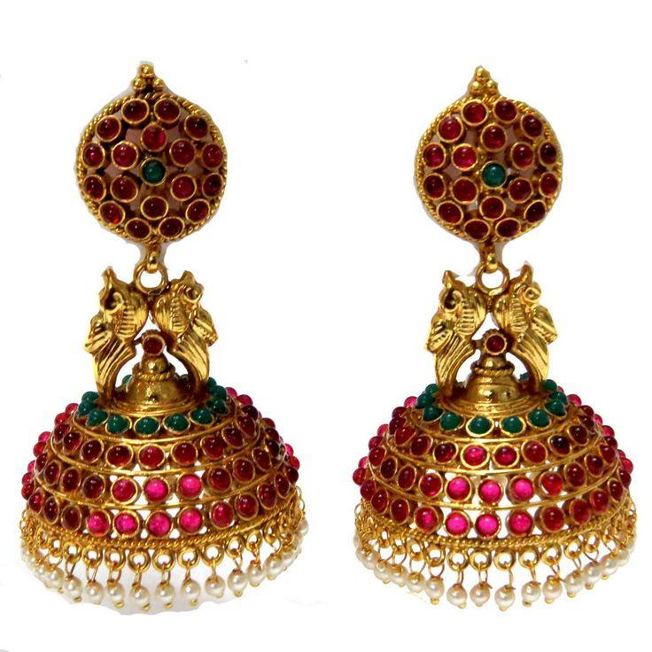 Jumka earings with green-pink stons