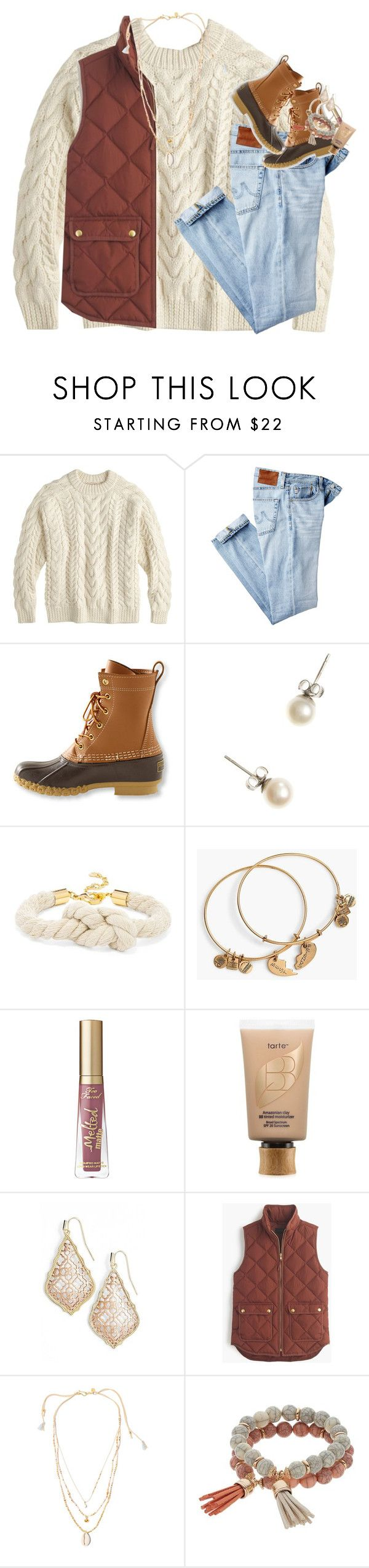 """""""come on, come on, turn the radio on"""" by classynsouthern ❤ liked on Polyvore featuring Demylee, AG Adriano Goldschmied, L.L.Bean, J.Crew, BaubleBar, Alex and Ani, tarte, Kendra Scott, Chan Luu and Coco Lane"""