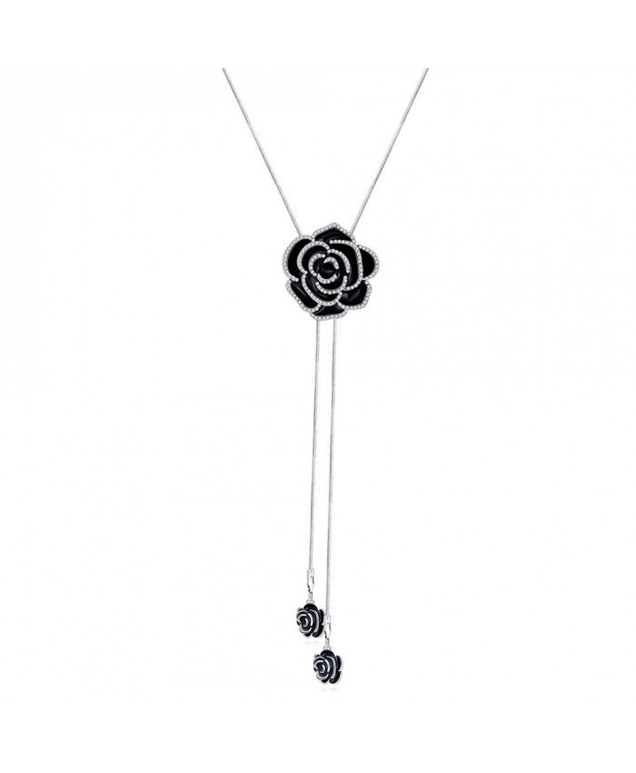 Ouruora Black Rose Flower Chain Drops Necklace
