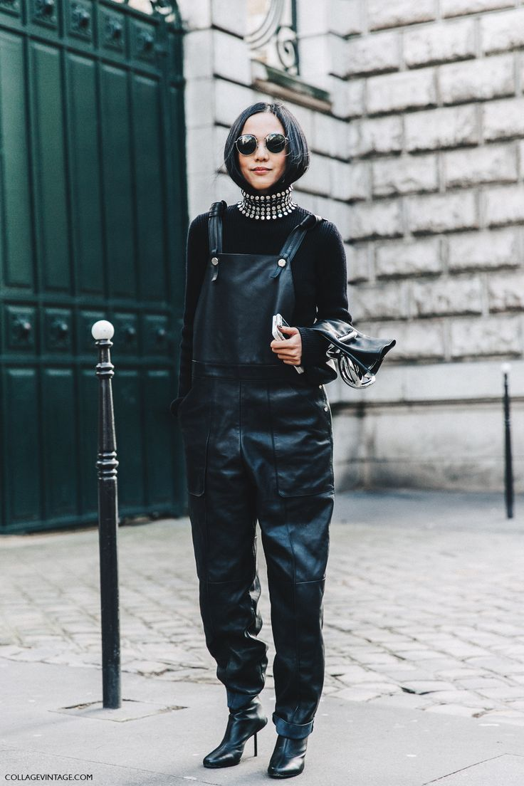 PFW-Paris_Fashion_Week_Fall_2016-Street_Style-Collage_Vintage-yoyo_Cao-Leather_Jumpsuit-1