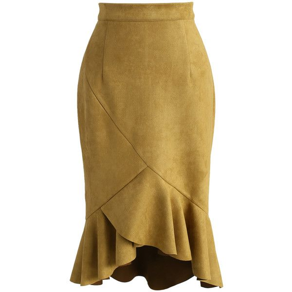 Chicwish Looking Fabulous Frill Hem Suede Skirt in Mustard ($48) ❤ liked on Polyvore featuring skirts, yellow, brown suede skirt, suede leather skirt, ruffled skirt, mustard skirt and suede skirt