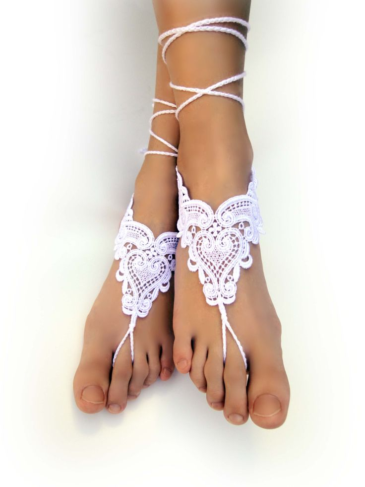 White Lace Barefoot Sandals. Foot Jewelry. Anklets. White Lace Heart Motif. Beach Pool Party Accessory for Women and Teens. Set of 2 pcs. by VividBear on Etsy