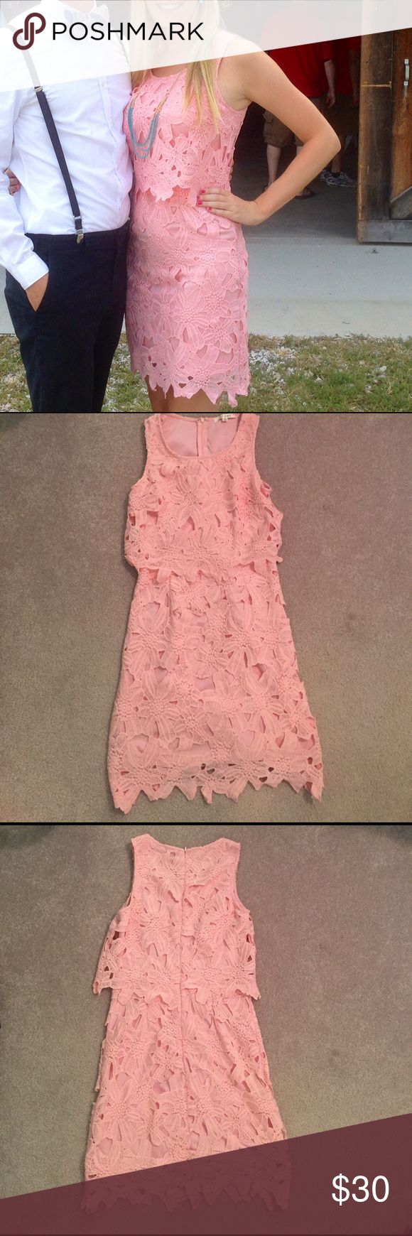 Francesca's peach lace dress Small peach dress from francesca's. 100% polyester with polyester lining. Francesca's Collections Dresses Mini