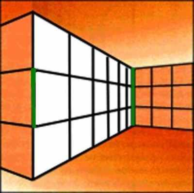 Ponzo Illusion-oth green lines have the same length. This Ponzo illusion uses the fact that human brain interpretes the image with perspective, however, it's just a simple 2D image.