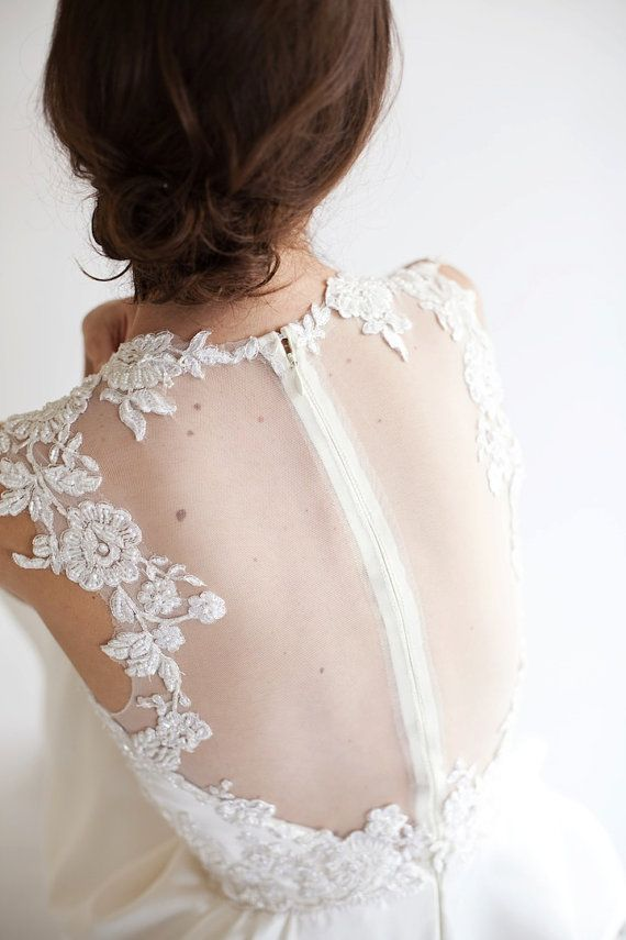 Eve Lace Applique Short Bridal Dress, illusion back, Reception Dress, Party Dress