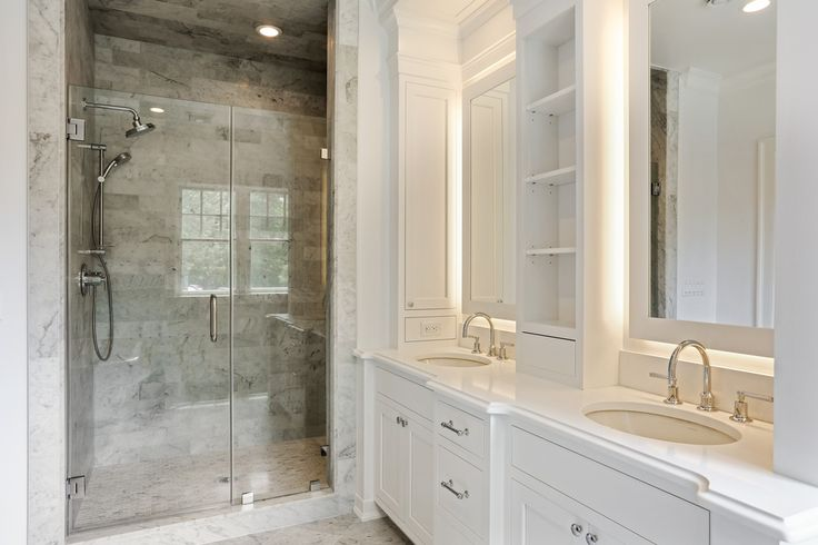 Transitional Master Bathroom with Limestone, frameless showerdoor, Flat panel cabinets, Inset cabinets, Crown molding, Flush
