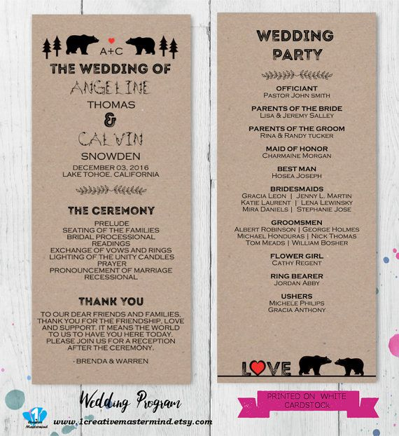Best Diy Wedding Program Templates Images On