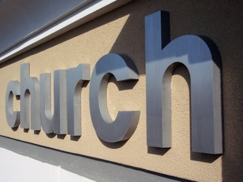 Custom Deep Solid Cut Out Brushed Satin Aluminum Metal Letters Pin Mounted  To Exterior Concrete