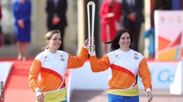 """Victoria Pendleton and Anna Meares carry the baton at the launch of The Queen""""s Baton Relay"""